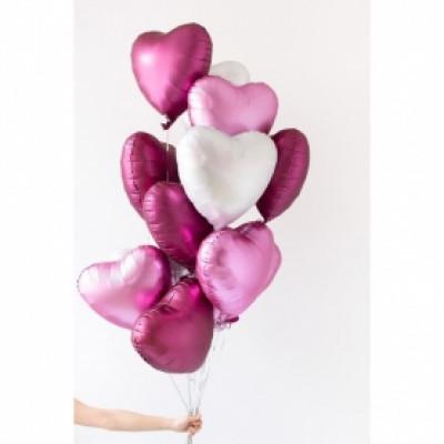 15 бело-розовых шаров Сердце