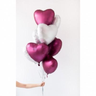 9 бело- розовых шаров Сердце
