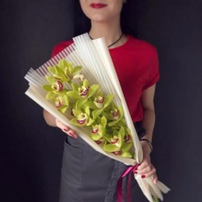 Орхидея зеленая в упаковке