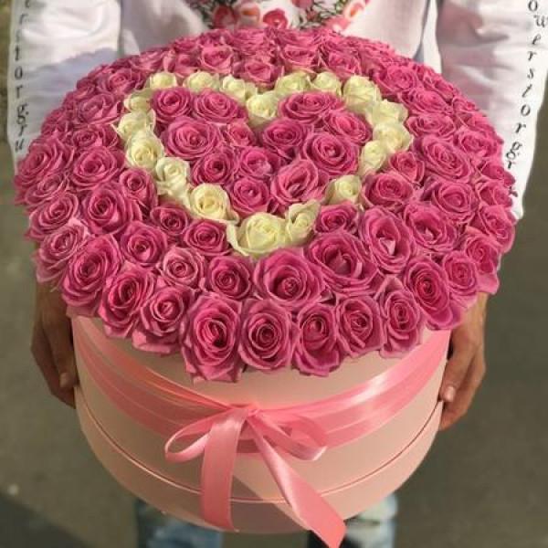 Коробка- Сердце из 101 розы