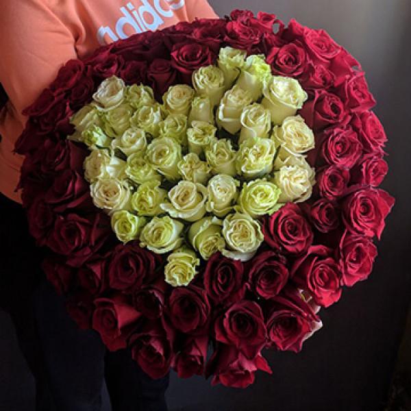 Букет из 101 розы Сердце