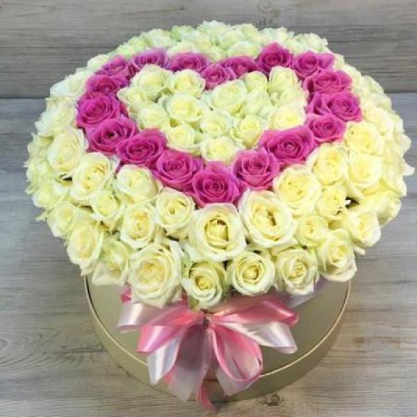 Композиция из 101 розы Сердце