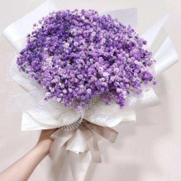 Букет из 15 фиолетовых гипсофил