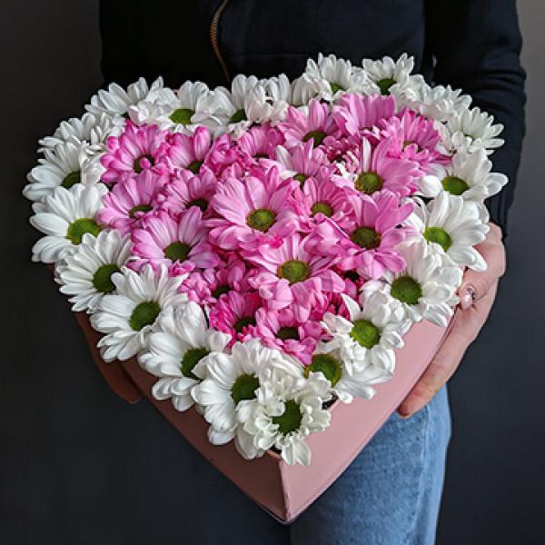 Композиция  из кустовой хризантемы Сердце