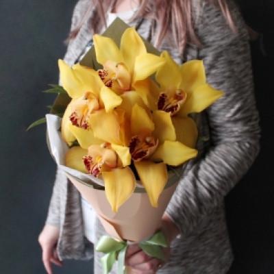 5 желтых орхидей