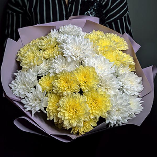 Букет из 7 бело-желтых хризантем