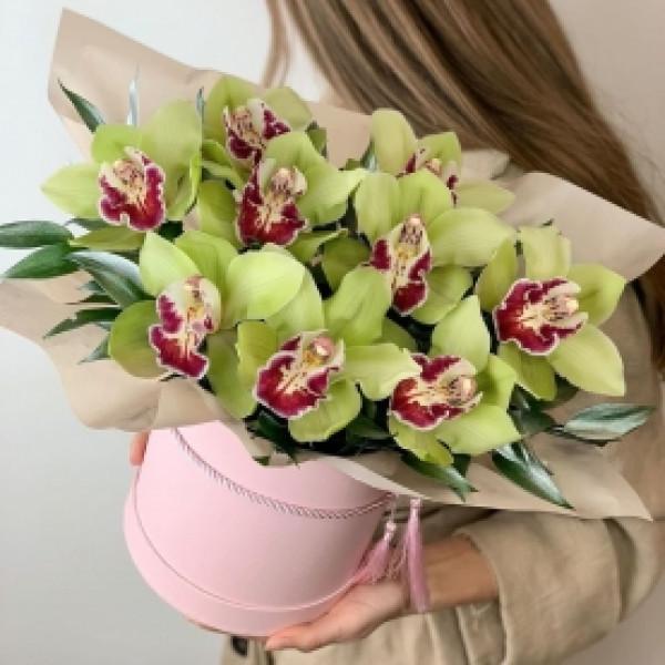 Шляпная коробка с 9 зелеными орхидеями