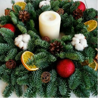 Новогодняя композиция со свечей