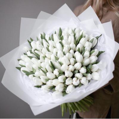 101 белый тюльпан в упаковке