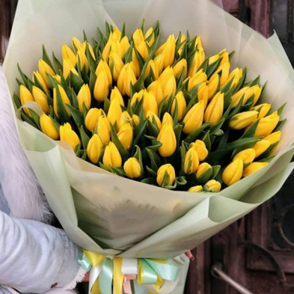 101 желтый тюльпан в упаковке