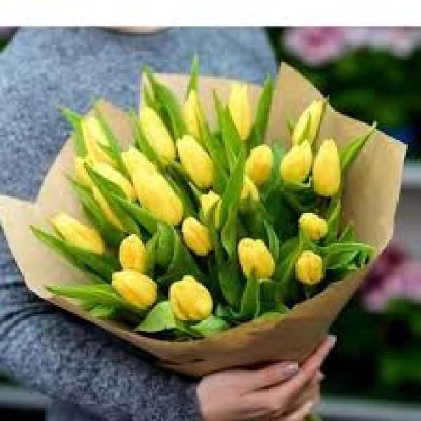 25 желтых тюльпанов в упаковке