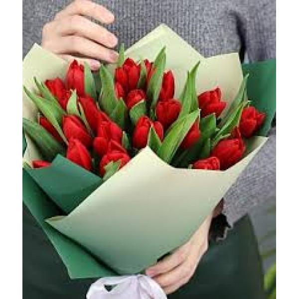 25 красных тюльпанов в упаковке