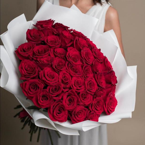 35 красных роз в упаковке