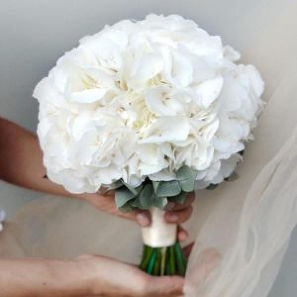 Букет невесты из белой гортензии